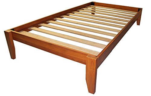Stockholm Solid Wood Bamboo Platform Bed Frame, Twin-size, Medium Oak ()