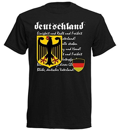 Deutschland Germany Herren T-Shirt Nationalhymne Fußball Wappen EM 2016 - S M L XL XXL - schwarz nc-nh