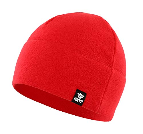 Home Prefer Winter Outdoor Skull Cap Simple Solid Daily Watch Hat Fleece Beanie Cap for Men, Red -