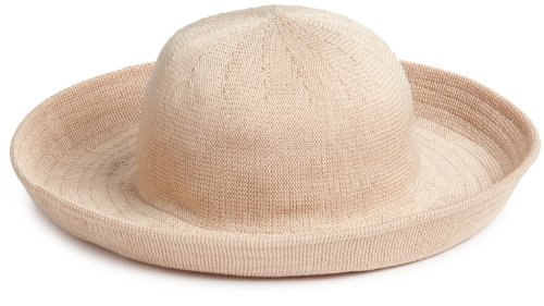 SCALA Women's Knitted Poly Straw Big Brim Hat, Natural, One