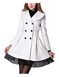 Allonly Women Windbreaker Twill Gauze Hem Skirt Double Breasted Cotton Trench Coat