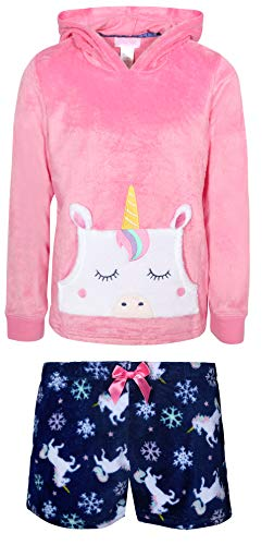 Rene Rofe Girl's 2-Piece Coral Fleece Character Pajama Short Set with Hoodie, Unicorn, Size 10/12'
