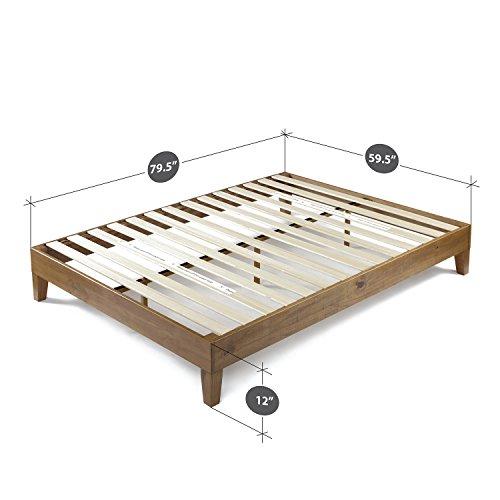 Zinus Alexis 12 Inch Deluxe Wood Platform Bed / No Box Spring Needed / Wood Slat Support / Rustic Pine Finish, Queen