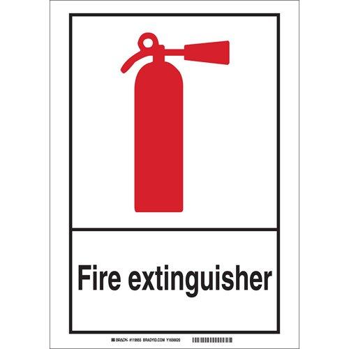 Black//Red//White Brady 119963 AluminumFire Extinguisher Sign 14 H x 10 W