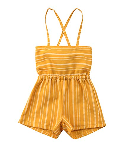 yannzi Kids Toddler Baby Girl Striped Big Bow Sleeveless Romper Jumpsuit Trousers Clothes Outfits (Z-Yellow, 1 Years) -