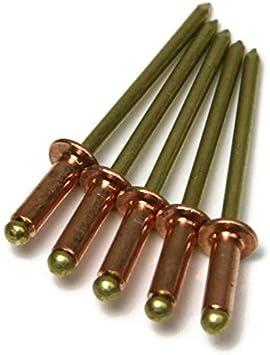 25, 1//4 Grip Range Copper Pop Rivets 1//8 Diameter Brass Mandrel Blind Rivets Dome Head