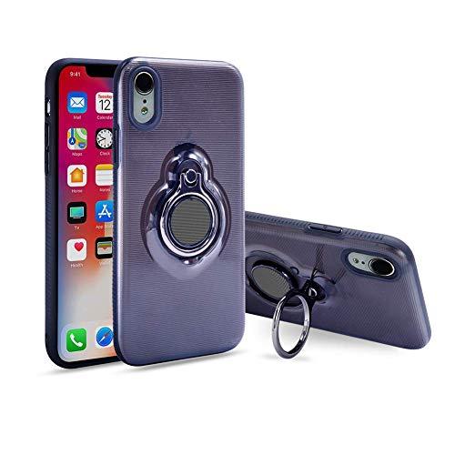 iPhone XR ケース リング 回転可 指リンググリップケース、 デュアルレイヤー 耐衝撃性保護iPhone XR ケース、磁気ブラケットに適用されます 6.1インチ (透明な黒)