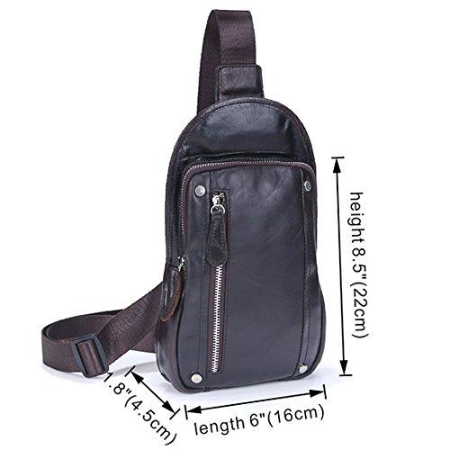honda de Bolso el que bolso viaja retro hombres de que mochila los Daypack de cuero excursión Gendi de del cruz la De pecho del la hombro la de marrón de viaja pecho café xw7fqtU4U6