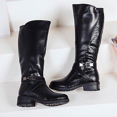 Heart&M Mujer Zapatos PU microfibra sintético Invierno Botas de Moda Botas de Combate Forro de pelusa Botas Dedo redondo Hasta la Rodilla Para burgundy