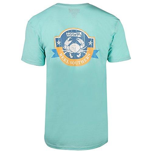 Hook & Tackle® Men's Reel Southern Crab Short Sleeve Shirt Celadon XLarge (Crab Tackle)