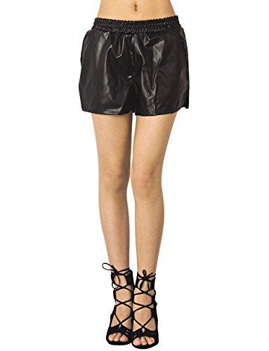 iB-iP Women'S Faux Leather Elastic Waist Loose Boyshorts Low Rise Casual Shorts, Size: M, Black