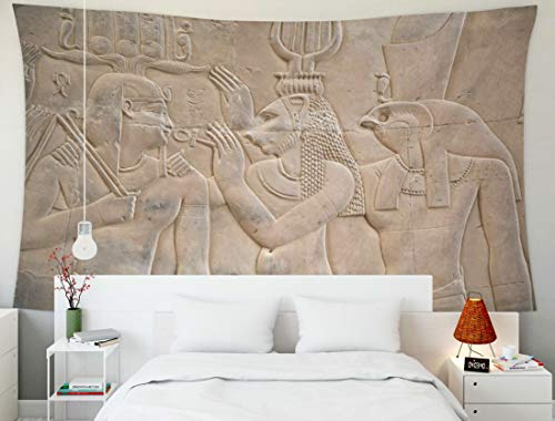 EMMTEEY Tapestry Wall Hanging, Tapestries Décor Living Room Bedroom for Home Inhouse by Printed 60x50 Inches for Wall a Relief of an Egyptian Scene Two Gods King