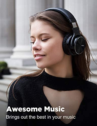 COWIN E7 PRO [Upgraded] Active Noise Cancelling Headphones Bluetooth Headphones with Microphone/Deep Bass Wireless Headphones Over Ear 30H Playtime for Travel/Work/TV/Computer/Cellphone – Black 41udcZ6WfVL