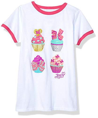 JoJo Siwa Girls' Big Cupcakes Short Sleeve Ringer Tee, White/Pink, L-6x