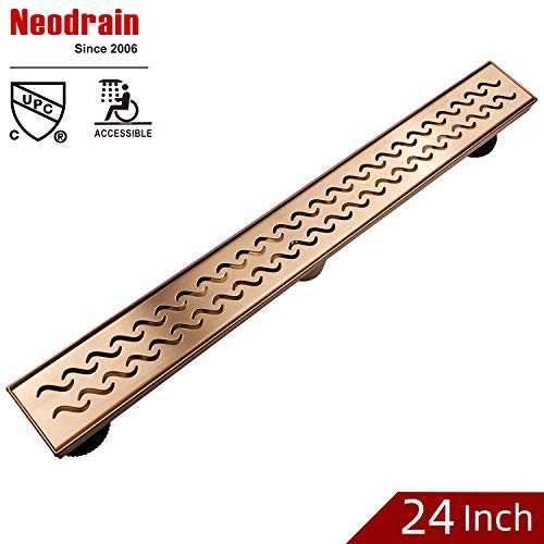 Neodrain 24 Inch Brushed Copper Rectangular Linear Shower Drain with Grate, Brushed copper 304 Stainless Steel Bathroom Floor Drain,Shower Floor Drain
