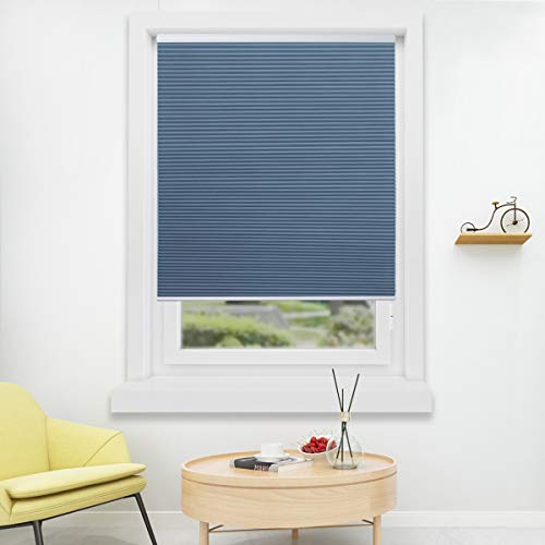 HOMEDEMO Cellular Honeycomb Shades Privacy Single Cell Window Blinds White Blue (Blackout) 46W x 48H Cordless Easy Lift Room Darkening Inside & Outside Mount for Windows