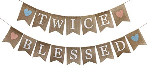 Rustic Burlap Twice Blessed Banner,Twins Baby Shower Gender