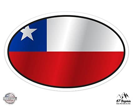 Chile flag oval 3 vinyl sticker for car laptop i pad phone