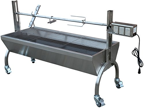 Titan Attachments Rotisserie Grill Roaster Stainless Steel 13W 88LBS capacity BBQ charcoal pig