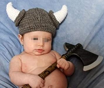 Amazoncom Baby Knit Hat Toddler Viking Beanie Crochet Hat Handmade