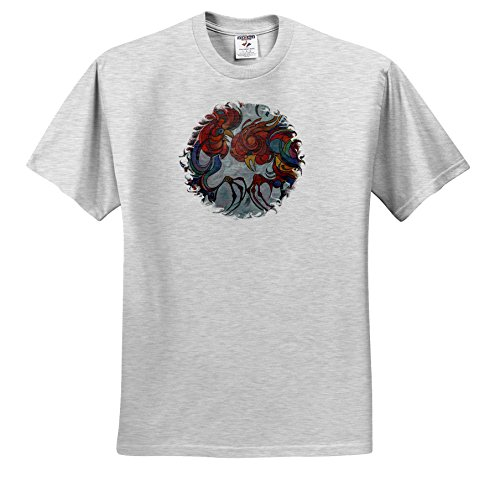 Taiche - Acrylic Painting - Roosters - Fowl Play - roosters, farmyard, gamecocks, rooster, animals, cockerel, year of the rooster - T-Shirts - Adult Birch-Gray-T-Shirt XL (ts_46919_21)