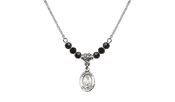 18-Inch Rhodium Plated Necklace with 4mm Jet Birthstone Beads and Sterling Silver Saint Edburga of Winchester Charm.