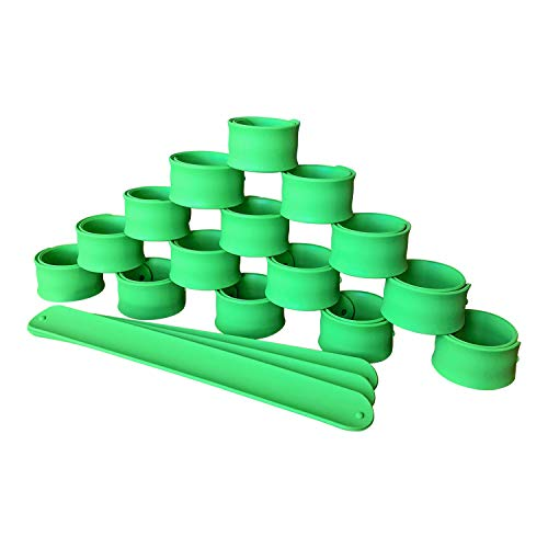 JT Party Premium Green Silicone Slap Bracelets for Kids Boys and Girls Birthday Party Supplies Favors (18 Pack) -