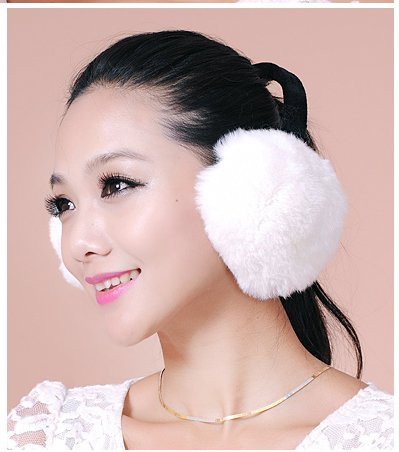 Rex Rabbit Fur Erica Earmuffs Ear Muffs Multicolors (White) by URSFUR (Image #4)
