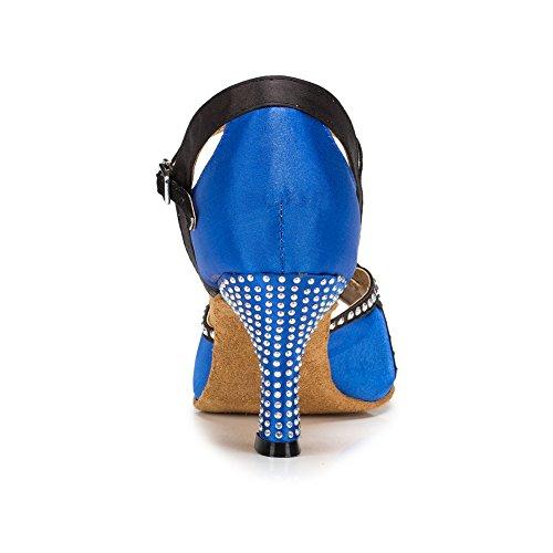misu - Zapatillas de danza para mujer Negro negro Azul