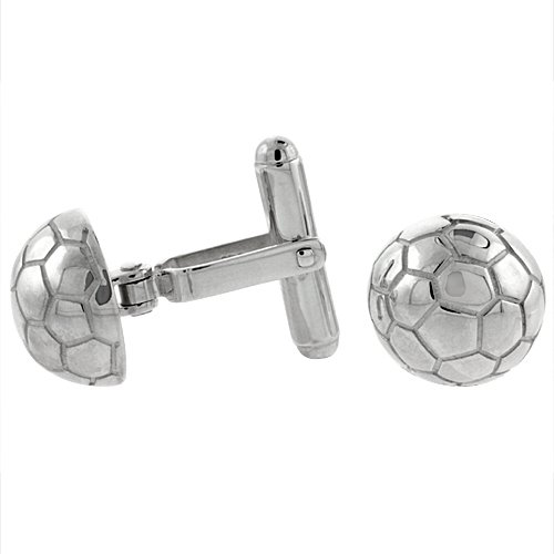Sterling Silver Soccer Ball Cufflinks Swivel Bar, 9/16 inch wide (Ball Cufflinks)