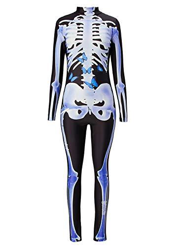 Uideazone Mechanical Bone Cosplay Costume Catsuit Scary Skull Bodysuit Skeleton Jumpsuit Halloween Costumes for Women