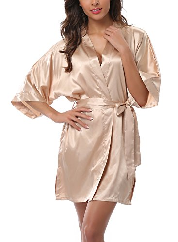 ABC-STAR Womens Short Satin Kimono Robe for Wedding Bridal Party Bridesmaid Robe, Champagne, -