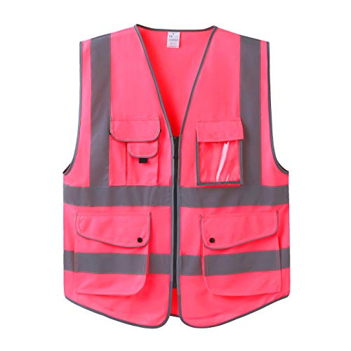 Uninova Safety Vest High Visibility - 9 Pockets Reflective Vest for Men & Women - ANSI/ISEA Standards (Large, Pink) (Pink Womens Safety Vest)
