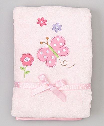 Spasilk Baby-Girls Newborn Extra Thick Plush Blanket with Satin Trim, Pink Butterfly, 30 Inchx40 Inch by Spasilk