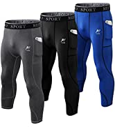MEETWEE Men's Compression Pants, Cool Dry Running Athletic Tights Workout Leggings Long Base Laye...