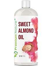 Sweet Almond Oil Best Carrier Oil - 32 oz 100% Natural Pure for Skin & Hair - Cleansing Properties Evens Skin Tone Nourishes Moisturizes Premium Nature