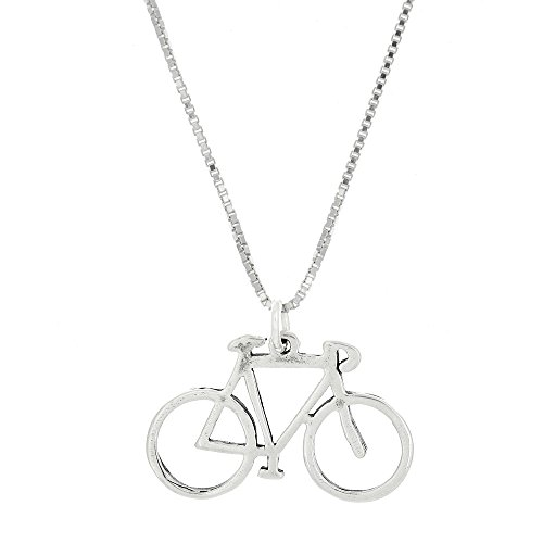 Sterling Silver Oxidized Double Sided Plain Bicycle Frame Charm Pendant with Polished Box Chain Necklace (18 Inches)