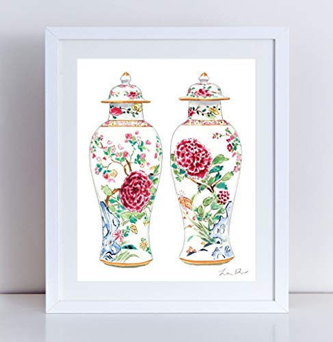 Rose Famille Ginger Jar Vase Giclee Art Print Watercolor Painting Wall Home Decor Chinoiserie Chinois Chinese Antique Asian Southern Style Preppy Pretty Floral Peony Botanical Pattern ()