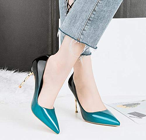 Renly Shoes PU Work Pumps Party Color Gradient Womens Dress Blue Leather xYxw5nXHr1