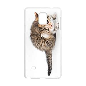 Cute Cat Blinking Eyes White Phone Case for Samsung Galaxy Note4