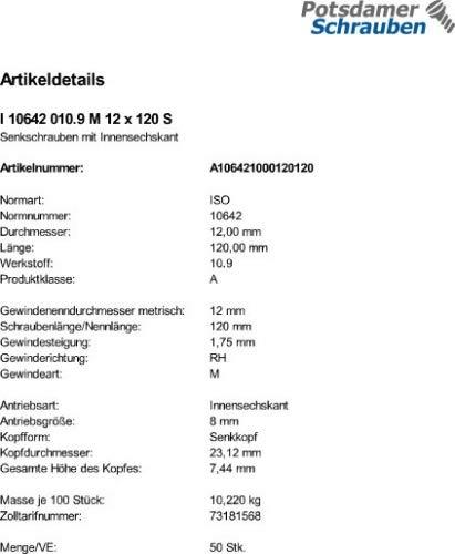 50 Inbus Senkkopfschrauben ISO 10642 10.9 schwarz M12x120