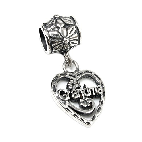 Queenberry Sterling Silver Love Grandma Heart European Dangle Bead Charm