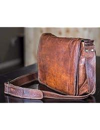 RKH 18 inch Leather Full Flap Messenger Handmade Bag Laptop Bag Satchel Bag Padded Messenger Bag School Brown (13X18 INCH Bag)
