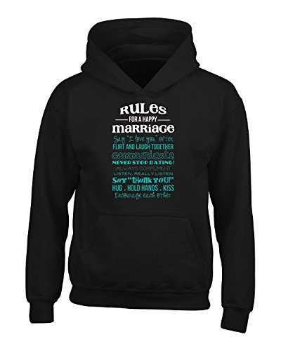 Rules For A Happy Marraige Happily Married - Adult Hoodie Xl Black