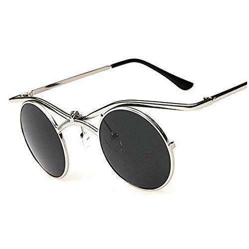 (MINCL/Boho Chic Gothic punk Sidestreet Flip-up Round Mirror Lens Metal Frame Sunglasses (silver-black, silver-black))