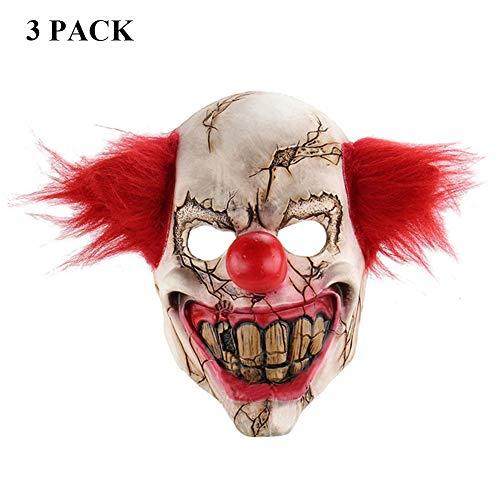 NDGT Latex Clown Mask 3 Pack-Creepy Scary Novelty