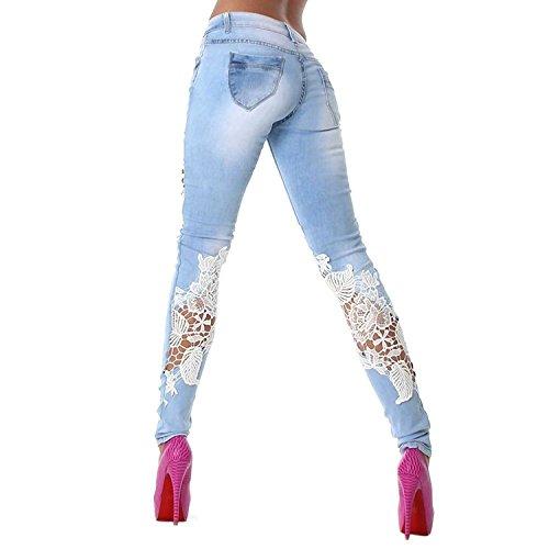 Stretto Casual Cm Strappati Minetom Hole Leggings 62 Sottile 2017 Donna Elastico Pantaloni Splicing Brevi Azzurro Denim Azzurroit Jeans vita Boyfriend 38 Pizzo 5wR0qgR