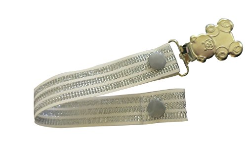 Pretty Paci Pacifier Clip, White Silver Tri Stripe