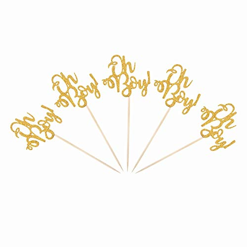 Best Quality - Party DIY Decorations - 10Pcs Oh Boy Gold Cupcake Topper Birthday Party Baby Shower Gender Reveal 1st Happy Birthday Cake Topper Decoration Suppllies,Q - by Viet JK - 1 PCs