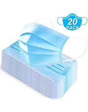 20PCS Disposable Face Masks, 3-Ply Elastic Ear Loops, Breathable Comfortable Filter Mask, Protection Mouth Cover